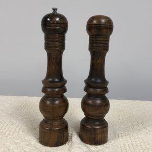 Vintage wooden pepper grinder and salt shaker